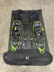 Yukon Charlie#x27;s Mountain Profile Snowshoes Green with Poles amp; Carrying Bag $99.99