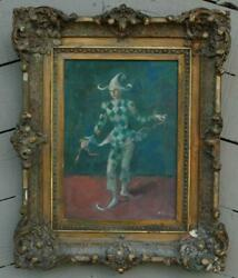Antique Oil on Board Of A Harlequin Illegibly Signed Very Well Executed $699.00