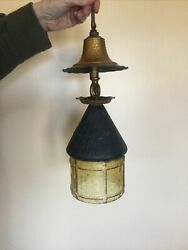 Antique Hanging Lantern 1930s 1940s Bronze Color Yellow Glass Arts amp; Crafts $95.00