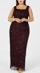ADRIANA PAPELL Women's PLUS Sequin Beaded Long Dress NWT $309 Gown Plum $95.00