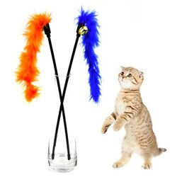 Cat Stick Feather Interactive Toy Colorful Feather Stick Pet Supplies Cat Toys $2.47