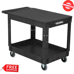 Heavy Duty Industrial Service Utility Cart Black Plastic Commercial With 2 Shelf