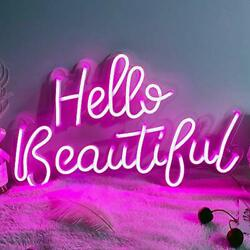 Hello Beautiful Neon Sign for Wall Bedroom Home Office Decor for Girlfriend Wife $137.74