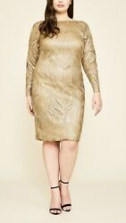 Tadashi Shoji Women's PLUS Cocktail Dress NWT Gold Metallic Sequined Lined $164.00