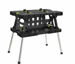 Keter Folding Work Bench Table Meter Saw Stand with Mini Clamps Easy Storage $99.98