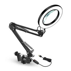 64 LED 5X Magnifying Lamp Desk Table Top Glass Magnifier Light With Clamp US $25.99