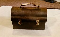 Aladdin Vintage 1950#x27;s Double Latched Domed With Thermos Holder Lunchbox $22.00