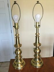 "Pair Of Stiffel Brass Lamps Vintage 29"" Tall $110.00"