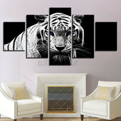 Modern Home Bedroom Wall HD White Tiger Art Picture Spray Painting 5PCS Decor $14.59