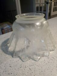 Antique Lamp Shade Victorian Acid Etched Daffodils Glass Light Oil Globe $25.00