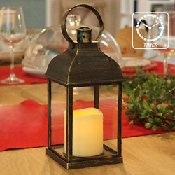 Decorative Candle Lantern Flameless Battery Timer Outdoor Indoor Hanging Decor $15.71
