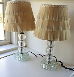 VINTAGE BOUDOIR GLASS LAMPS WITH RUFFLE SHADES SET OF 2 $49.99