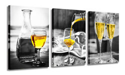 Wine Glass Canvas Wall Art Wine Pictures Wall Paintings for Dining Room Bar $39.98
