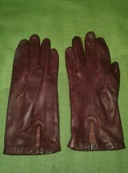 Aris Vintage Leather Gloves Women#x27;s Size 6 ½ Brown $25.52