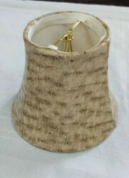 LAMP SHADE CLIP ON TAN FAUX LEATHER FOR CANDELABRA SMALL LAMP $17.95