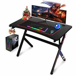 Upgraded Gaming Desk 45 INCH R Shaped Home Office PC Computer Table Desk Black $117.45