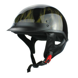 Gloss Black Motorcycle Skid Lid Helmet with Flames DOT Approved $28.55