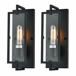 ANJULL Wall Sconces Rustic Bedroom Wall Lamp Set of 2 Black Vintage Rectangle... $63.19