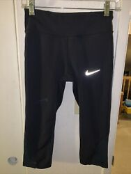 "Nike Dri Fit Capri Running Tights Size Small with 19"" Inseam Black $15.95"