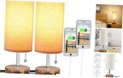 USB Table Lamp Bedside Table Lamp with Two USB Ports Round Fabric Lamp Sets $58.51
