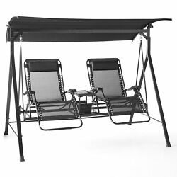 Zero Gravity Outdoor Reclining Swing with Canopy Sturdy Steel 2 Seaters NEW $375.99
