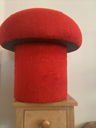 Vtg Mid Century Modern Retro Red Faux Fur MUSHROOM Foot Stool Ottoman $180.00