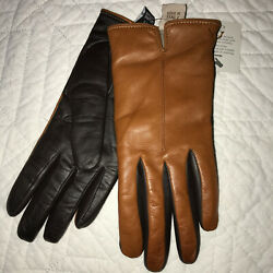 GLOVES brown black leather lined cashmere size 7.5 NEW NWT Fratelli Orsini $47.00