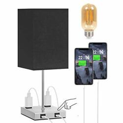 Touch Table Lamp for Bedroom Seealle Black Lamp with 2 USB amp; Outlets 3 Way... $48.45