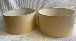 Two Extra Large Beige Linen Drum Lamp Shades For Table Floor Ceiling Lighting $17.00