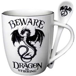 Alchemy Gothic Black Dragon Is Stirring Mug amp; Spoon Set