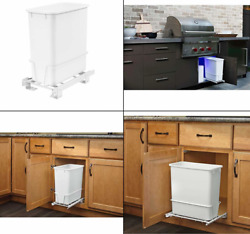 20 Quart White Trash Can Kitchen Waste Bin Garbage Pull Out Undercounter Cabinet $36.00