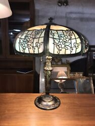 "Large 16 Panel Antique Slag Glass Lamp w bronze base Art Nouveau 20"" shade huge $1000.00"