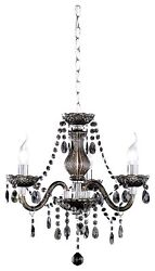 Lamp Spider Ceiling Fiber Acrylic 3 Light Bulbs 40 W 3 Arms Black New $216.06