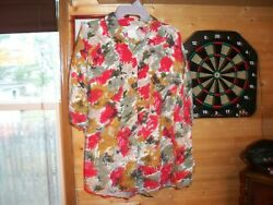 Honors Plus Women Button UP Top Plus Size Multicolor Floral Short Sleeve SZ 3X $4.99