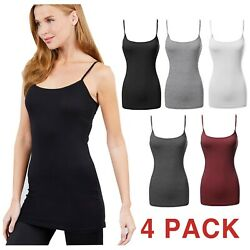4 PACK Women Cami Tank Top Long Layering Casual Basic Camisole Plain Plus Size $22.99