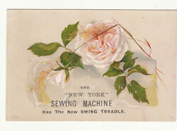 New York Sewing Machine Swing Table Peach White Rose Vict Card c1880s $2.95