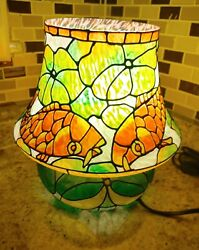 Oriental Asian Japanese Painted Koi fish faux stained glass Lamp $125.00
