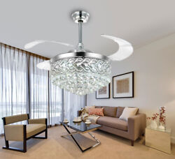 42quot; Luxury Remote Crystal Chandelier Lighting Modern Invisible Ceiling Fan Light $233.99