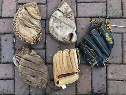 Lot of 5 VTG antique Leather Baseball Gloves First Base Catchers Mitt Rawlings $80.00