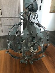 Classic Lighting Corp Italian Tole Verdigris Green Leaf CHANDELIER Pendant $300.00