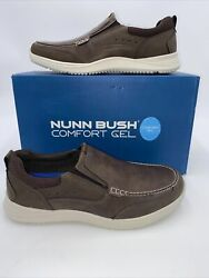 Nunn Bush Mens Conway Loafers Shoes Brown Slip On Moc Toe 10 M New $51.29