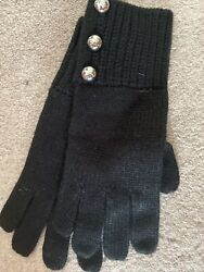 Michael Kors MICHAEL Gloves Logo Dome Button Glove Mittens Black $58 NWT $39.99