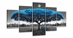 Blue and Black Canvas Art Blue Tree Wall Paintings for Living Room Dining Room $89.98