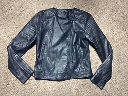 WOMEN'S KENDALL amp; KYLIE BLACK FULL ZIP CAFE JACKET FAUX LEATHER MOTO SIZE XS