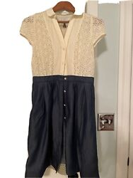 HD in Paris Anthropologie Dress Cotton Eyelet Ivory and Blue Dress Size 6 $20.00