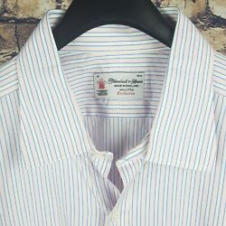TURNBULL amp; ASSER Mens Pink White Cocktail Cuff Dress Shirt 18 35 46 Exclusive $69.99
