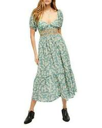FREE PEOPLE Green ELLIE FLORAL Print EMBROIDERED Smocked MAXI Boho DRESS L NWT $119.99