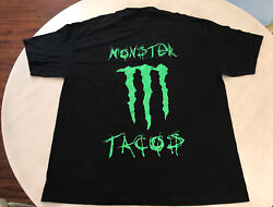 """Men's Alstyle Monster """"Tacos"""" Energy Drink Black Double Sided T Shirt Size XL $19.95"""
