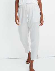 MADEWELL WOMEN#x27;S WHITE BEACH COVER UP COTTON TRACK TROUSERS PANTS Sz S $35.99