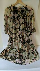 LC Lauren Conrad Floral Dress Crew 3 4 sheer sleeves overlay Large $17.50